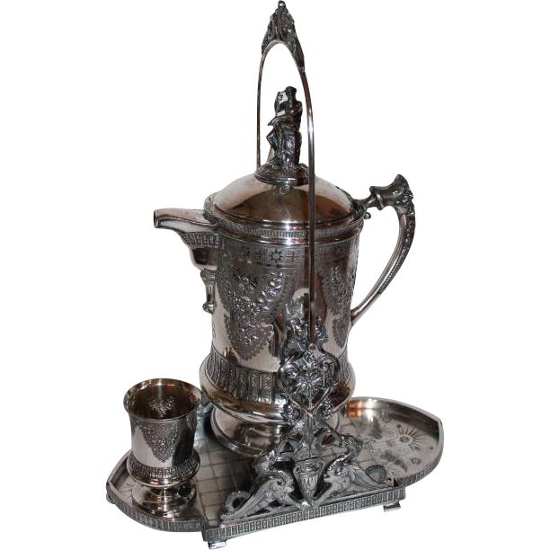 VERY VERY RARE & ORNATE  LARGE Antique Victorian Meriden 1870's Figural  Tilting  Water Pitcher, Stand & Cup ~ Outstanding White Porcelain Lining ~  VERY ORNATE Quadruple Silver Plate ~ Original Condition