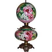 100% Original OUTSTANDING HUGE Jumbo Gone with the Wind Banquet or Parlor Oil Lamp ~Masterpiece Breathtaking BEAUTY WITH ROSES ~ Fancy Ornate Handled Spill Ring and RARE Base