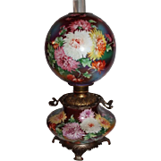 100% Original OUTSTANDING LARGE Jumbo Gone with the Wind Banquet Parlor Oil Lamp ~Masterpiece Breathtaking BEAUTY WITH MUMS~ Outstanding Colors ~ Fancy Ornate Handled Spill Ring