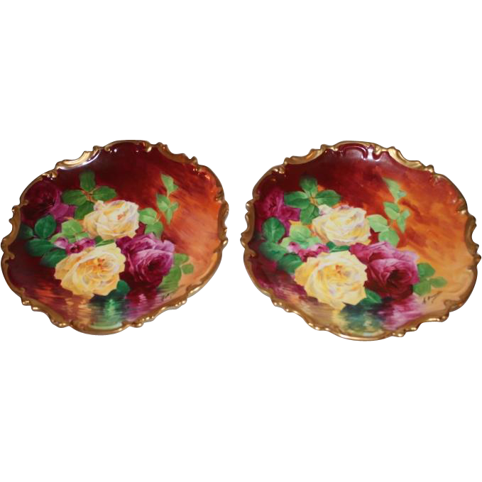 "OUTSTANDING PAIR of 13 1/4"" Coronet LIMOGES Roses ANTIQUE PLAQUES ~ Listed Artist ""Bronssillon""~ Completely Hand Painted Originals ~ Breathtaking ROSES ~ Museum Quality Masterpieces"
