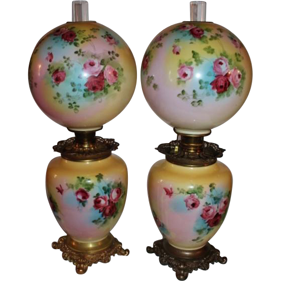 Wonderful PAIR of HAND PAINTED HUGE JUMBO Gone with the Wind Oil Parlor Lamps ~Masterpiece Breathtaking HAND PAINTED ROSES ~ Outstanding Fancy Ornate Font Spill Ring and Base~ Original Condition ~Original Parts