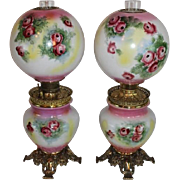 RARE PAIR of HAND PAINTED Antique Gone with the Wind Oil Parlor Lamps ~Masterpiece Breathtaking HAND PAINTED ROSES ~ Outstanding Fancy Ornate Font Spill Ring and Base~ Original Condition ~Original Parts