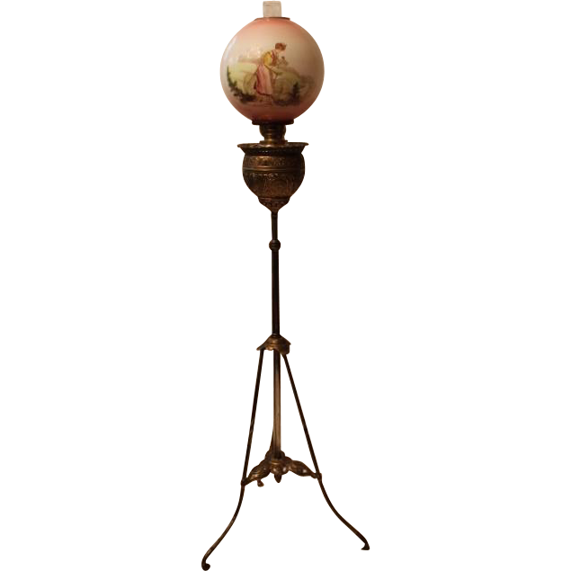 "Antique Bradley Hubbard Victorian Piano Floor Lamp ~Original 10"" Shade ~ Original Oil Burning Condition."