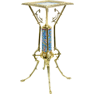 Very Rare Antique Bradley & Hubbard Victorian Aesthetic Movement Brass Stand ~ French Longwy Enamel Pottery Inserts