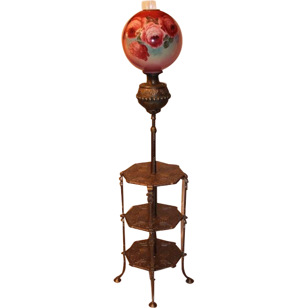 "Antique Victorian Bradley Hubbard Piano Floor Lamp ~Original 14"" Hand Painted Shade ~ Original Oil Burning Condition"