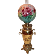 HUGE Outstanding B&H Victorian BRASS Banquet Kerosene Oil Lamp ~ Original Hand Painted Shade with Mums ~ Outstanding Original Condition