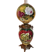 100% Original OUTSTANDING HUGE Hand Painted Jumbo Gone with the Wind Banquet Oil Lamp ~Masterpiece Breathtaking BEAUTY WITH ROSES ~ Fancy Ornate Handled Spill Ring
