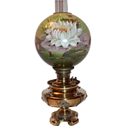WOW!   B&H Victorian Water Lilly Banquet Kerosene Oil Lamp  ~ Original Hand Painted Impressionistic Water Lilly Shade  ~ Outstanding Original Condition~ RARE FIND