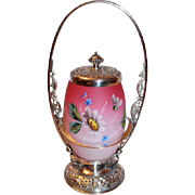 Very Rare Rogers #33 Victorian Pickle Castor Pink Satin Art Glass Egg Shaped Enamel Floral Glass Insert ~ Quadruple Plated Pickle Castor~ Excellent Condition