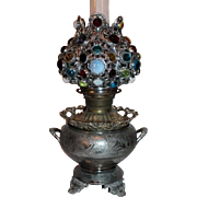 Outstanding Aesthetic Victorian Banquet Kerosene Oil Lamp ~ Original JEWELED Shade ~ Made by Juno - late 1800's~Outstanding Original Condition.