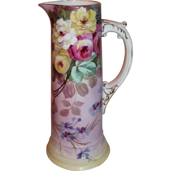 "OUTSTANDING 15""  W.G. & Co. Limoges Tankard Pitcher~ Outstanding Hand Painted Roses~(1898-1903)"