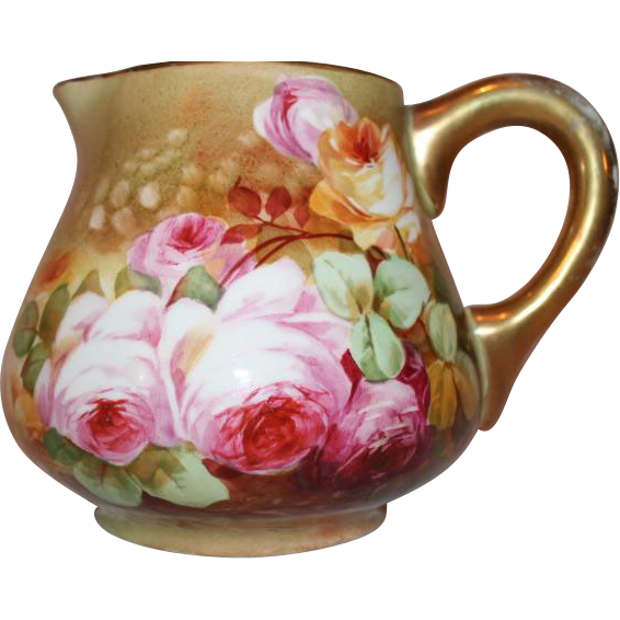 OUTSTANDING Blakeman and Henderson Limoges Lemonade or Cider Pitcher~ Outstanding Hand Painted Roses~Very Early 1900's