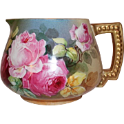 "AMAZING JPL Limoges Lemonade or Cider Pitcher~ Outstanding Hand Painted Roses~Famous Artist ""Leona""~ Made between 1890 - 1932"
