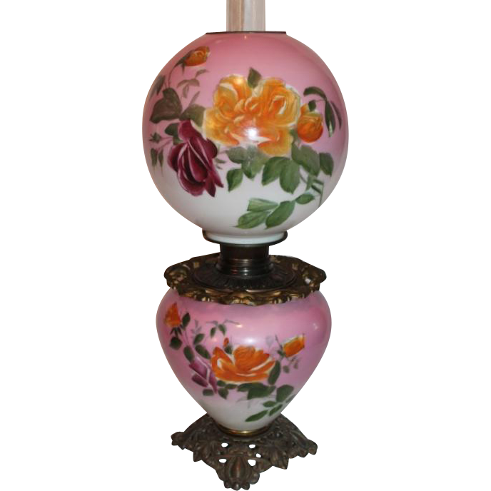Wonderful Bradley Hubbard Gone with the Wind Banquet or Parlor Oil Lamp ~Masterpiece Breathtaking BEAUTY WITH ROSES~100% Original
