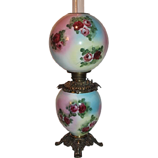 Museum Quality BEAUTIFUL Gone with the Wind Kerosene Banquet Lamp ~Masterpiece Breathtaking Rainbow Lamp with HAND PAINTED ROSES~ Outstanding Fancy Ornate Font Spill Ring and Base~ Original Condition ~Original Parts