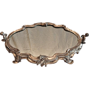 WOW!!  Outstanding French Rococo Revival Silver Plated Mirrored Plateau with Cherubs C.1900
