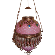 WOW! Outstanding Victorian Edward Miller & Company Hanging Library Kerosene Oil Lamp ~ VERY RARE Matching Pink Satin Opalescent Hobnail Shade and Glass Font Cover ~ with THREE RARE Jeweled Embellishments