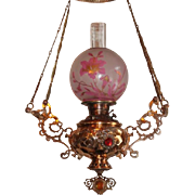 WOW! Outstanding RARE B&H Victorian Hanging Library Gone with the Wind (GWTW) Kerosene Oil Lamp ~ VERY RARE Cameo Cutback Patterned Glass Shade ~ with Three  RARE Jeweled Embellishments on the Tank Cover