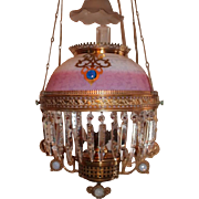 WOW! Outstanding Victorian Ansonia Hanging Library Kerosene Oil Lamp ~ VERY RARE Jeweled Frame ~ Outstanding Pink to Opalescent White Etched Mt. Washington Glass Shade with Opalescent Smoke Bell~ All Hand Cut Prisms ~Jeweled Leveler