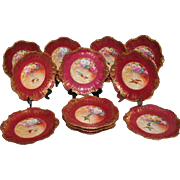 "Wonderful Set of 12 Antique LIMOGES Plates Featuring French Tea Roses and Wild Game Birds ~ Listed Artist ""Bronssillon""~ Completely Hand Painted Originals ~ Breathtaking ROSES"