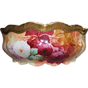 "Wonderful LARGE 9 3/4"" Coronet Limoges  Serving Bowl ~ Rare Find Featuring French Tea Roses  ~ Listed Artist ""Bronssillon""~ Completely Hand Painted Original ~ Breathtaking ROSES"