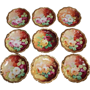 "Wonderful Set of 9 Antique Limoges Dessert Plates Featuring French Tea Roses ~ Listed Artist ""Bronssillon""~ Completely Hand Painted Originals ~ Breathtaking ROSES"