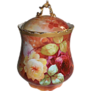 "Wonderful LARGE 8"" Coronet Limoges Cookie or Biscuit Jar ~ Rare Find Featuring French Tea Roses ~ Listed Artist ""Bronssillon""~ Completely Hand Painted Original ~ Breathtaking ROSES"