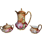 Wonderful Limoges Coffee / Chocolate Pot with Matching Sugar & Creamer Set