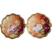 """Wonderful Pair of 9 3/4"""" LIMOGES Dinner Plates Featuring French Tea Roses"""