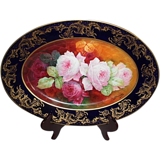 "WOW!  Outstanding Antique Haviland Limoges LARGE 17 1/2"" Hand Painted Porcelain Platter/Tray~ Rare Find Featuring French Tea Roses ~ Listed Artist ""Bronssillon""~ Completely Hand Painted Original"