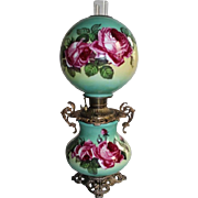 """Antique Gone with the Wind Banquet Oil Lamp~ 11"""" SHADE~Masterpiece Breathtaking BEAUTY WITH ROSES~ Outstanding Fancy Ornate Handled Font Spill Ring and Base~ Original Condition ~Original Parts"""
