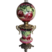 Antique Gone with the Wind Banquet Oil Lamp ~Outstanding Fancy Handled Font ~Masterpiece Breathtaking BEAUTY WITH ROSES~ Outstanding Fancy Ornate Handled Font Spill Ring and Base~ Original Condition ~Original Parts