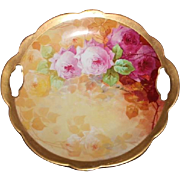 "Wonderful Coronet Limoges Handled Cake/ Cookie Plate 10 1/4"" ~ Rare Find Featuring French Tea Roses ~ Listed Artist ""Bronssillon""~ Completely Hand Painted Original ~ Breathtaking ROSES"