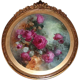 "Breathtaking Large 16 1/2"" JPL Limoges Porcelain Plaque with HAND PAINTED ROSES ~ Museum Quality Masterpiece Still Life Painting on Porcelain ~ Signed by the Artist ""C. W. Morgan"