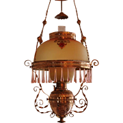 WOW! ANTIQUE Victorian Ansonia Hanging Library Kerosene Oil Lamp ~  RARE Jeweled Frame ~ Outstanding  Hand Blown Mt Washington Burmese Shade and Under Shade  ~ c1865