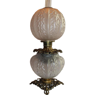 c.1905 Fostoria Crystal Satin Beaded Acanthus Patterned Art Glass Lamp ~Outstanding Fancy Ornate Handled Font Spill Ring and Base~ Original Condition ~ALL Original Parts