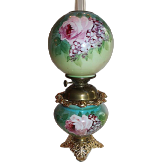 BEAUTIFUL Hand Painted Gone with the Wind Kerosene Banquet Lamp ~ROSES~ Outstanding Fancy Ornate Font Spill Ring and Base~ Original Condition ~Original Parts
