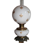 VERY RARE EXCEPTIONAL B&H (Bradley Hubbard) Aesthetic Fleur-De-Lis Cased Glass Gone with the Wind Banquet Lamp ~RARE Cased Glasswith GOLD Enameled Fleur-De-Lis'