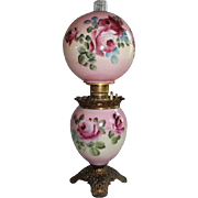 "VERY NICE Gone with the Wind Banquet Oil Lamp ~ 10 1/2"" SHADE~ Breathtaking with HAND PAINTED ROSES~ Outstanding Fancy Ornate Font Spill Ring and Base~ Original Condition ~Original Parts"
