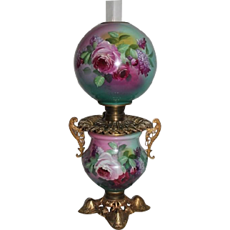 Outstanding Gone with the Wind Oil Lamp ~RARE Masterpiece Breathtaking BEAUTY WITH HAND PAINTED ROSES~ Outstanding Fancy Ornate Handled Font Spill Ring and Base~ Original Condition ~Original Parts