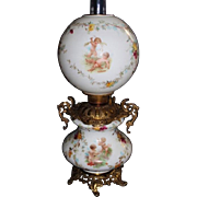 RARE Gone with the Wind Banquet Oil Lamp  ~Masterpiece Breathtaking BEAUTY WITH CHERUBS and ROSES~ Outstanding Fancy Ornate Handled Font Spill Ring and Base~ Original Condition ~Original Parts