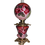 Gone with the Wind Banquet Oil Lamp with ROSES~ Outstanding Fancy Ornate Handled Font Spill Ring and RARE Lady Faces Base~ Original Condition ~Original Parts