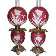 """RARE PAIR Patterned Art-Glass """"Poppy Pattern"""" Kerosene Banquet Lamps ~ Outstanding Fancy Ornate Font Spill Rings and Bases~ Original Condition ~Original Parts"""