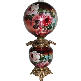 "Outstanding Hand Painted Gone with the Wind Banquet  Oil Lamp with ROSES ~RARE 12"" Shade ~ Outstanding Fancy Ornate Handled Font Spill Ring and Base~ Original Condition ~Original Parts"