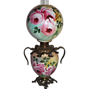 Outstanding Hand Painted Gone with the Wind Oil Lamp with ROSES ~RARE Handled Font Ring and Base ~ Original Condition ~Original Parts