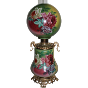 "LARGE  Gone with the Wind Banquet Oil Lamp ~RARE 11"" SHADE~Masterpiece Breathtaking BEAUTY WITH HAND PAINTED ROSES~ Outstanding Fancy Ornate Handled Font Spill Ring and Base~ Original Condition ~Original Parts"