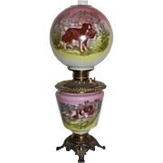 RARE Scenic Gone with the Wind Banquet Oil Lamp ~Wonderful Dog Scenes~ Outstanding Fancy Ornate Font Spill Ring and Base~ Original Condition ~Original Parts