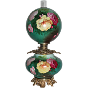 """WOW!!  HUGE JUMBO Gone with the Wind Oil Lamp ~RARE 13"""" SHADE~Masterpiece Breathtaking BEAUTY WITH HAND PAINTED ROSES~ Outstanding Fancy Ornate Handled Font Spill Ring and CHERUB Base~ Original Condition ~Original Parts"""