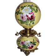 "Outstanding Hand Painted Gone with the Wind Oil Lamp with ROSES  ~ 10"" Shade ~ Outstanding Fancy Ornate Handled Font Spill Ring and Base~ Original Condition ~Original Parts"