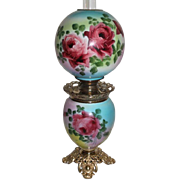 "Outstanding Hand Painted Gone with the Wind Oil Lamp with ROSES ~ 10"" Shade ~ Outstanding Fancy Ornate Font Spill Ring and Base~ Original Condition ~Original Parts"